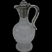 SALE Antique Victorian Silver and Cut  Glass Wine Claret Jug