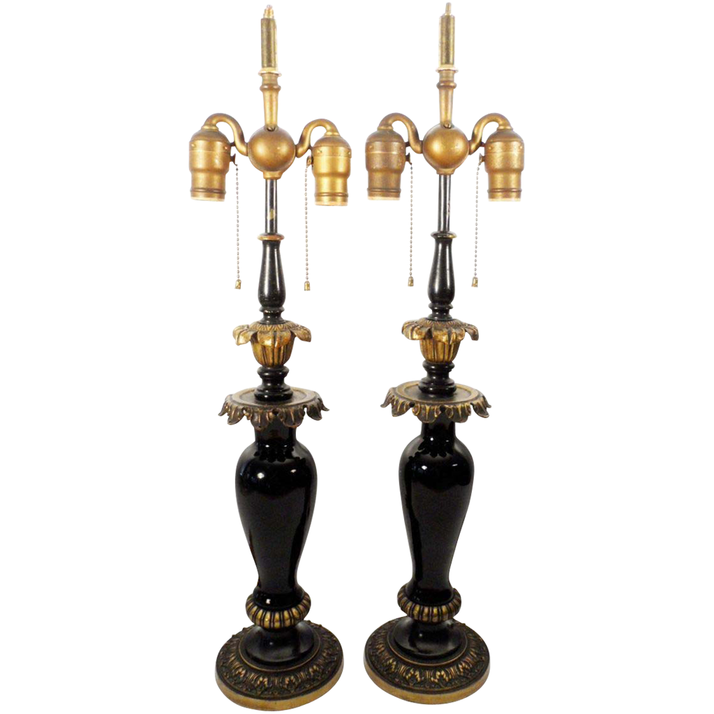 """Exquisite Antique French 25 ½"""" Black Glass Lamps"""