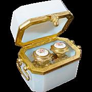 SALE Antique French White Opaline  Double Handles Scent Casket