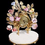 SALE Fabulous Antique French Clock w Porcelain Flowers