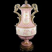 """SALE Antique Sevres Style Double Handle """"PUTTI  S """"Porcelain Urn"""