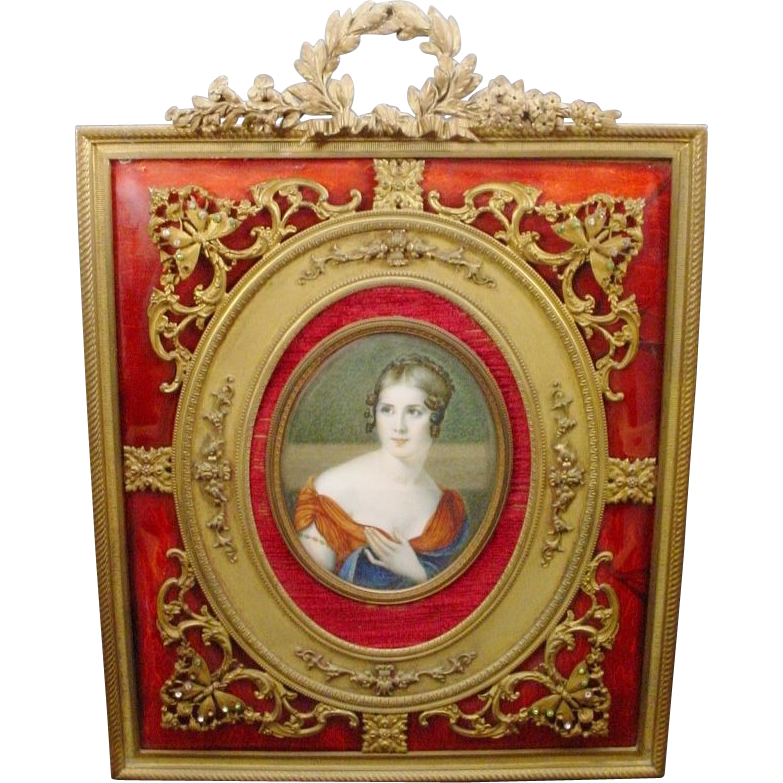"""French HP Portrait Miniature 10"""" Red Enamel Jeweled Frame."""