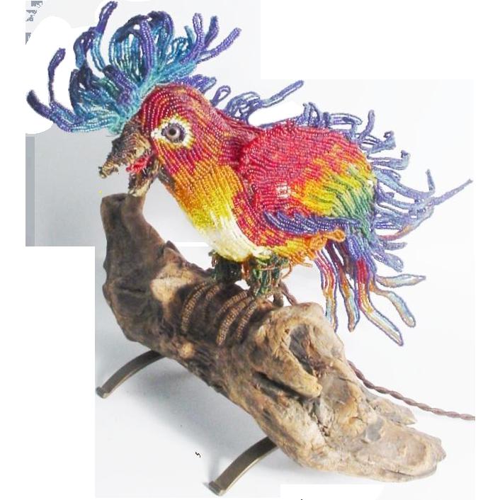 Rare Antique Beaded  Parrot Bird Lamp