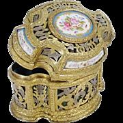 """SALE Antique French Bronze Casket Hinged Box """"Five Porcelain Plaques"""""""
