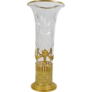 "SALE 15"" Grandest Antique French ""Empire Style"" Cut Crystal Gilt Ormolu Vase"