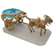 SALE Antique l Blue Opaline Goat Cart