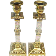"""SALE 10"""" Antique English Bronze and Mother of Pearl Candle Sticks"""