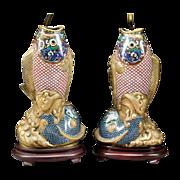 """SALE Grandest  Antique 32"""" Chinese Cloisonné Fish Lamps"""