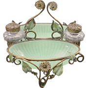 SALE Antique French Baccarat Double Green Opaline Inkwell