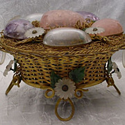 "SOLD Antique French  9"" Jeweled  Bronze Ormolu Double Handle Basket "" Six FAB Gem Eg"