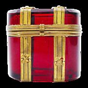 "SALE Fabulous Antique Bohemian Ruby ""Trunk Shape""Hinged Box"
