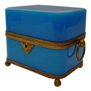 SALE Giant Antique French Blue Opaline Double Handle Hinged Box.