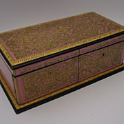 SOLD RARE Antique French Pink TAHAN  Boulle Hinged Glove Box Jewelry Casket