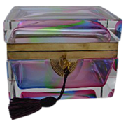 SALE Antique French Rainbow Crystal Hinged Box
