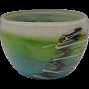 SALE Vintage Estate Art Glass Bowl from American Studio…Artist Signed