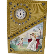 "SALE Glorious Antique Jeweled Vienna Enamel Clock ""Two Winged Cherubs"""
