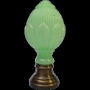SALE Antique French Green Opaline  and Bronze Newel Post Boule d'escalier