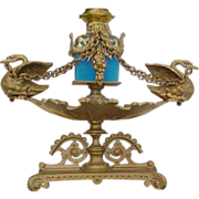 "SALE Exquisite Palais Royal Figural Scent Caddy ""Swans and Blue Opaline Bottle"""