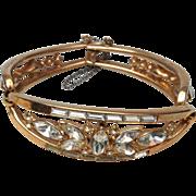 SALE Crown Trifari Patent Pending Hinged Bracelet  Alfred Philippe 1952