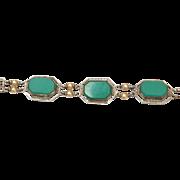 SALE Sterling Filigree and Chrysoprase Bracelet - Stunning!