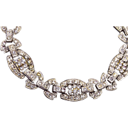 Art Deco Pot Metal Rhinestone Bracelet – 8-1/4""