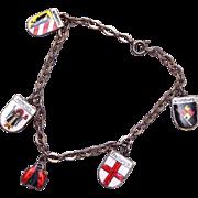 SALE 800 Silver and Enameled German Shield Charm Bracelet