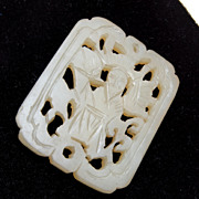 SALE Agate Charm With Figure of Shou Carving