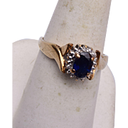 10kt  Gold and Sapphire Ring 7-3/4