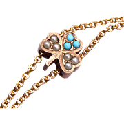 Gold Filled Turquoise and Seed Pearl 3 Leaf Clover Slide Necklace