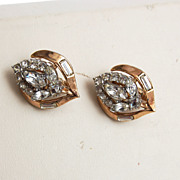 Crown Trifari Patent Pending Goldtone and Rhinestone Earrings