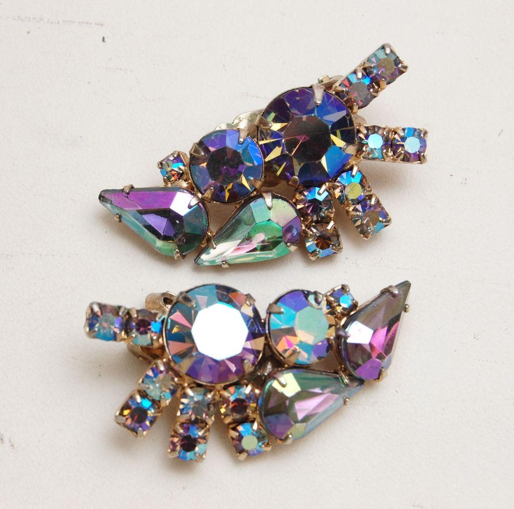 Purple and AB Crystal Earrings
