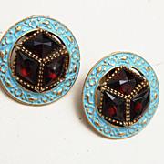 Blue Enamel and Rose Cut Crystal Rhinestone Earrings