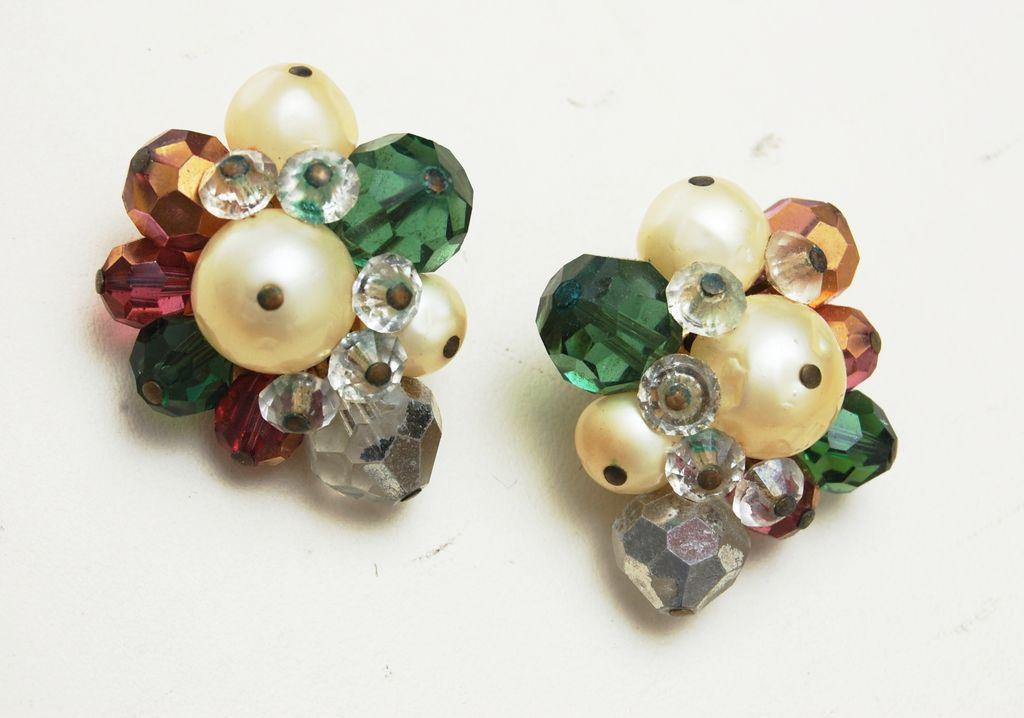 Hattie Carnegie Colorful Crystal and Faux Pearl Earrings