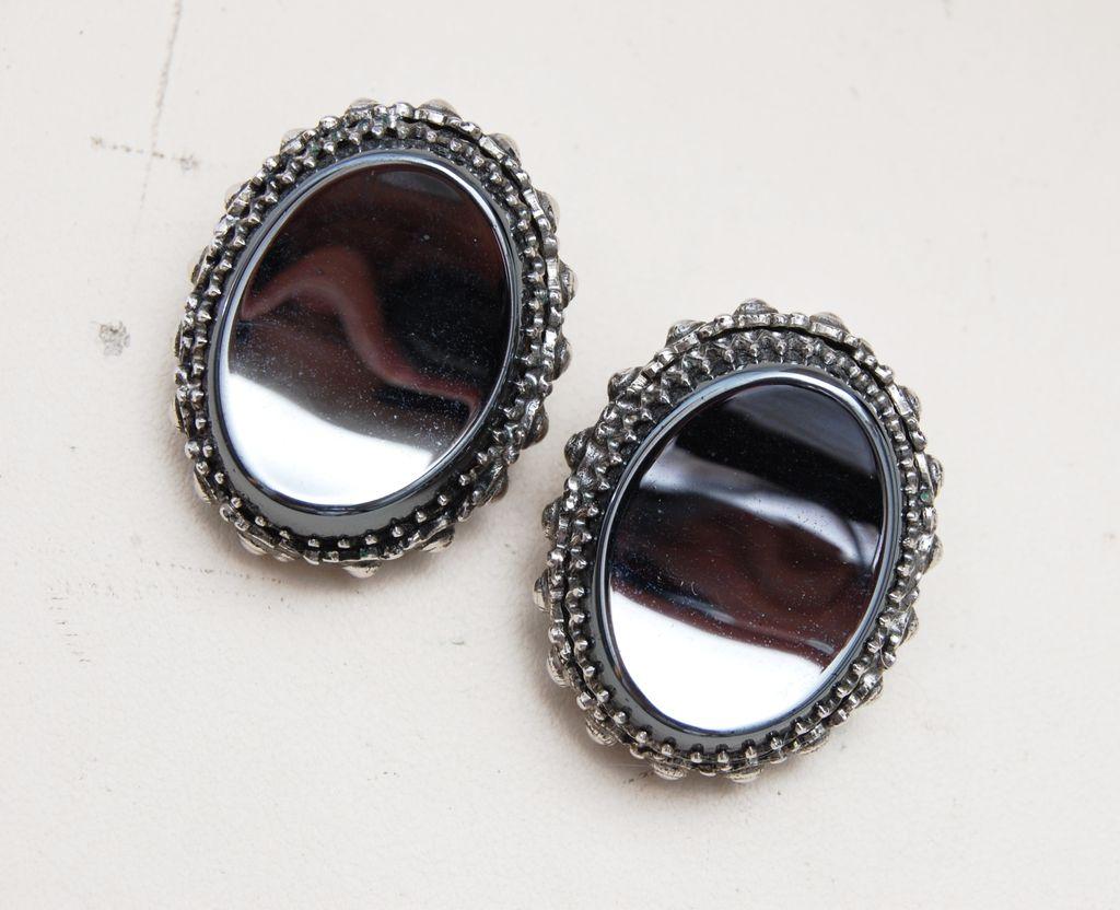 Whiting and Davis Shiny Hematite Earrings