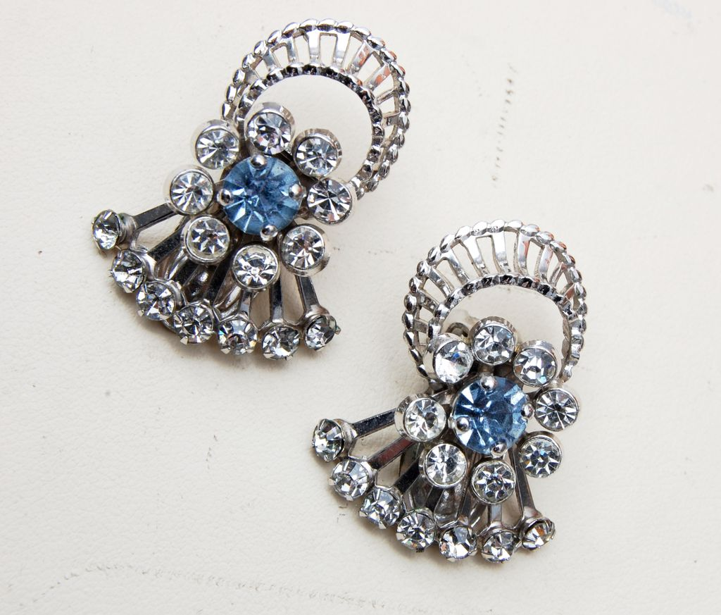 Barclay Silver Tone and Rhinestone Earrings