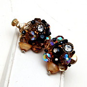 SALE Vendome Cream, Black and Topaz Earrings