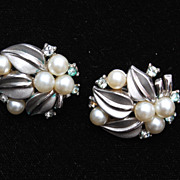 Trifari Silver Tone Earrings With Faux Pearls and Rhinestones