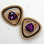 Swarovski Purple Rhinestone and Black Enamel Earrings