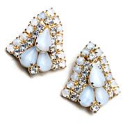 White Jelly and Rhinestone Earrings