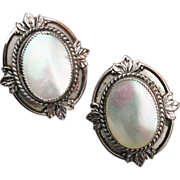 Whiting and Davis Mother Of Pearl Silver Tone Earrings