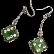 SALE Green Bakelite Rhinestone Dice Dangle Pierced Earrings