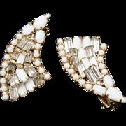 White and Clear Prong Set Rhinestone Earrings