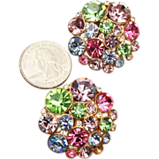 Large Pastel Colored Rhinestone Earrings