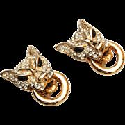 Wonderful vintage Rhinestone Cougar Earrings