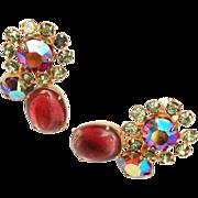 Coro Pink and Olive Rhinestone Earrings