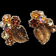 SALE Austria Signed Molded Glass Leaf Earrings