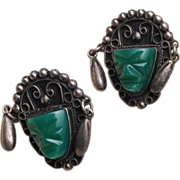 SALE Silver Mexico Green Face Earrings