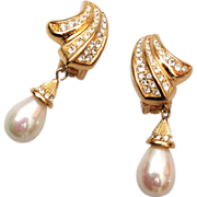 SALE Christian Dior Faux Pearl Drop Earrings