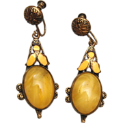 Yellow Glass and Enamel Drop Earrings