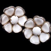 SALE White Milk Glass Flower Earrings